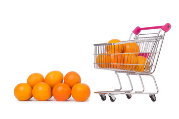 Supermarket trolley full of oranges isolated on white