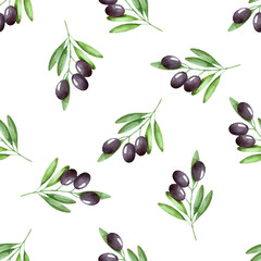 olives seamless pattern