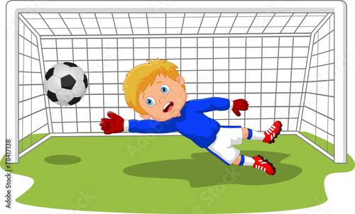 Soccer football goalie keeper saving a goal
