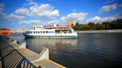 Moscow river cruise boat. HD. 1920x1080
