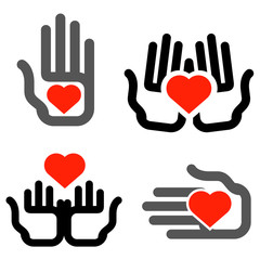 hands and heart vector logo design template. medicine or charity
