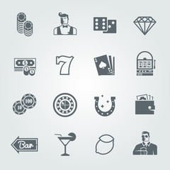 Simple black vector icons set for web and mobile apps. Casino