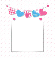 Paper frame with stitched hearts buntings garlands on white back