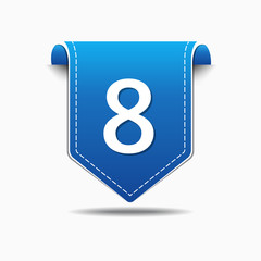 8 Number Vector blue Web Icon
