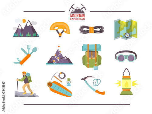 Colorful flat vector icons set . Quality design illustrations - 78418367