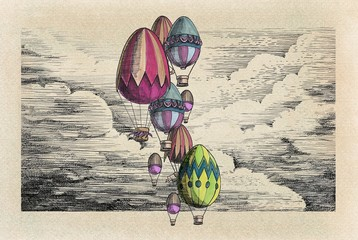 Vintage eggs balloons for Easter