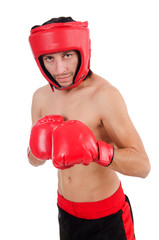 Boxer in red helmet and gloves isolated on white