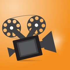 The camera icon with shadow shines on orange background vector