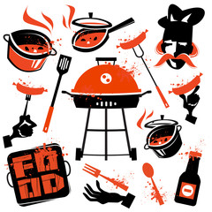 BBQ vector logo design template. cooking or kitchen icon.