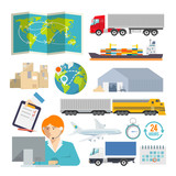 Colourful logistics vector icon set for your business, web sites - 78419701