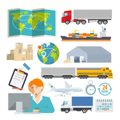 Colourful logistics vector icon set for your business, web sites