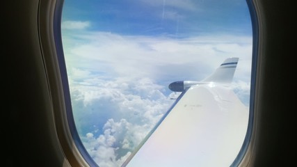 View from Passenger Window of Jet Airplane
