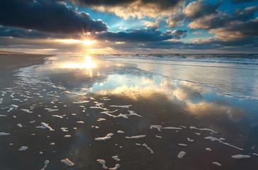 gold sunset over North sea coast
