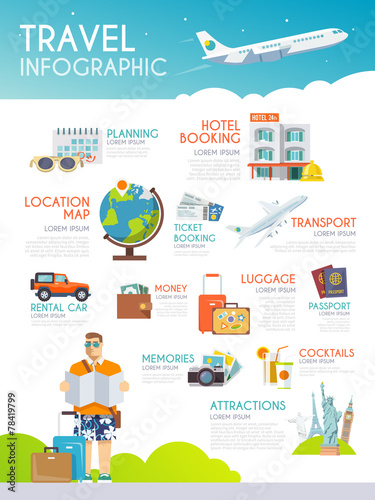 Colourful travel vector infographic. The concept of infographics - 78419799