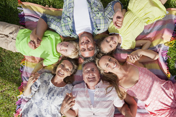 Overhead portrait of a family lying on the grass