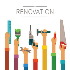 Renovation and construction vector concept in modern flat style
