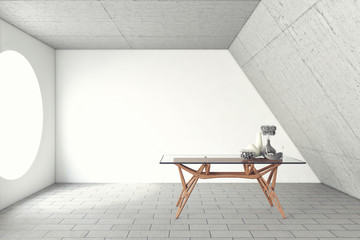 Table In A Concrete Room