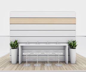 White Exhibition Stand With Wooden Floor