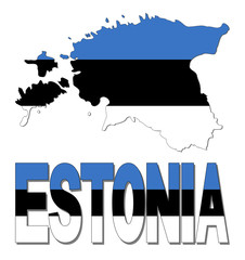 Estonia map flag and text illustration