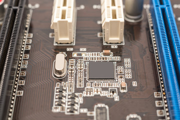 Computer Micro Chipset Circuit Board And PCI Slots