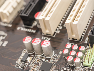 Computer Chip Capacitors And Resistors On Motherboard