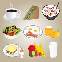 Healthy Foods and Breakfast Set