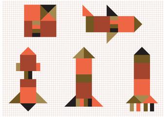 aircraft rocket geometric shapes