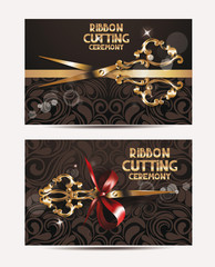 Ribbon cutting ceremony cards with gold scissors