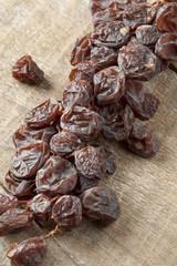 Twig of muscat raisins close up