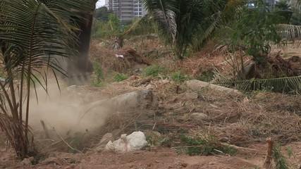 Stock Video Footage 1920x1080 Excavator bucket working building.