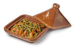 Moroccan square tagine with meat, green beans and carrots