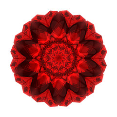 beautiful pattern rosette of red glass