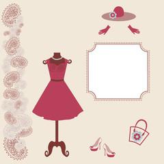 Woman dress on dummy - vector illustration