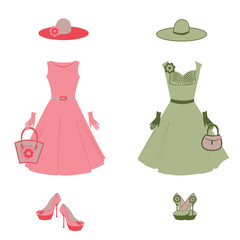 Romantic dress, hat, bag, gloves, high heels in vector