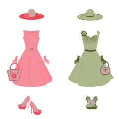 Romantic dress, hat, bag, gloves, high heels in vector
