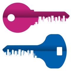 key vector logo design template. City or metropolis icon.