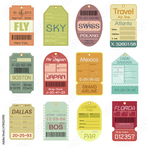 Set of Vintage Luggage Tags - 78422998