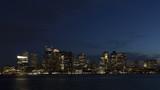 4K Time lapse close up Boston skyline at twilight