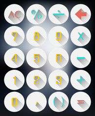 calculator interface icons flat design with long shadows effect