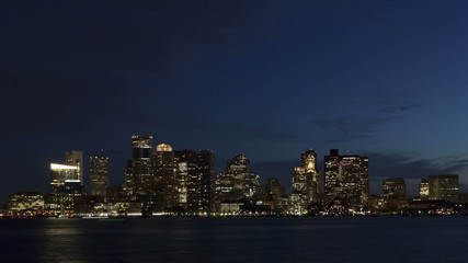 4K Time lapse close up Boston skyline at twilight