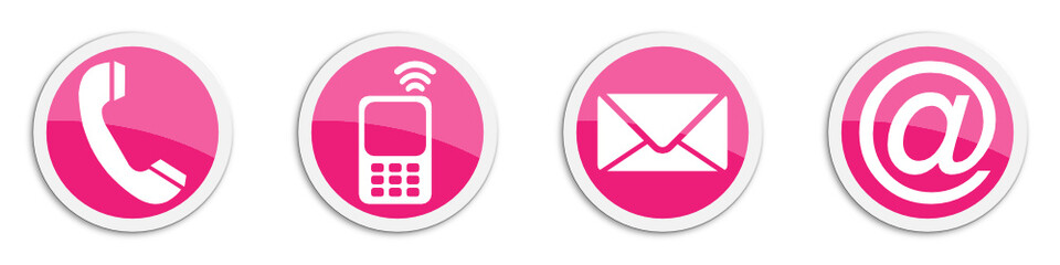 Four contacting sticker symbols in magenta - buttons