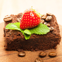 Brownie cake with coffee beans
