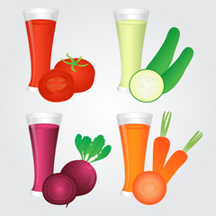 Glasses of Veggies Juice Isolated on Background
