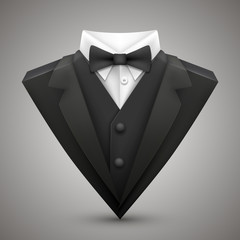 Triangle jacket with a bow tie.