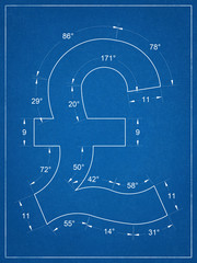 British pound symbol blueprint