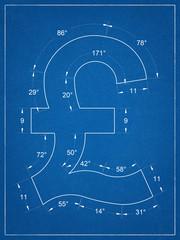 British pound symbol blueprint