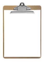 clipboard with paper isolated on white
