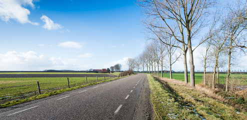 Country road in a flat rural landscape