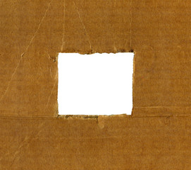 Textured cardboard frame with rough edges isolated