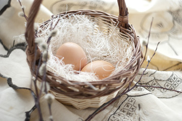 two eggs in a basket